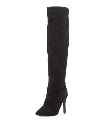 Olivia Over-The-Knee Pointy Suede Boot, Black
