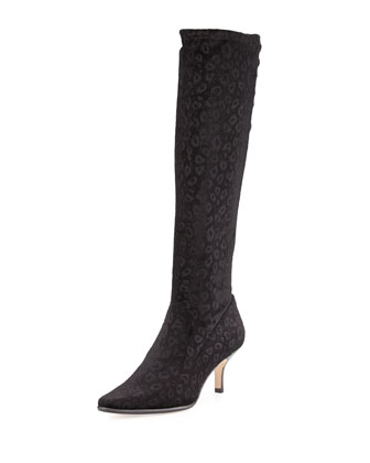 Luca Stretch Velvet Boot, Black