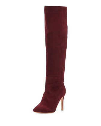 Olivia Over-The-Knee Pointy Suede Boot, Merlot