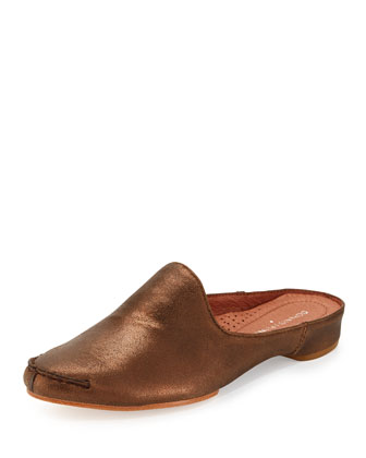 Bobbi Casual Metallic Leather Slide, Bronze