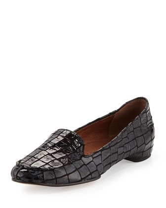 Bengi Croc-Print Loafer, Pewter