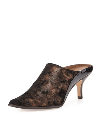 Luxe Metallic Mule Slide, Bronze