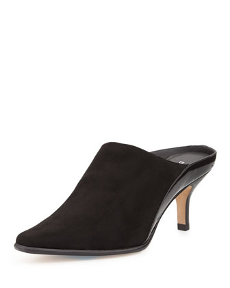 Luxe Stretch Mule Slide, Black