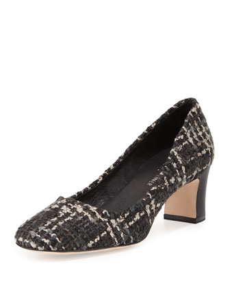 Jevi Mid-Heel Tweed Pump, Black