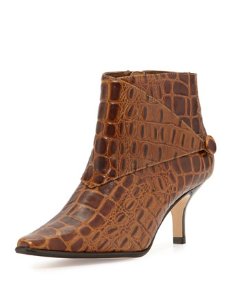 Loli Crocodile-Print Ankle Boot, Tan