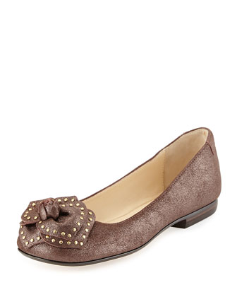 Babylon Studded Flower Ballerina Flat, Chocolate