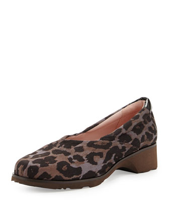 Tarah Envelope Suede Wedge, Gray Leopard