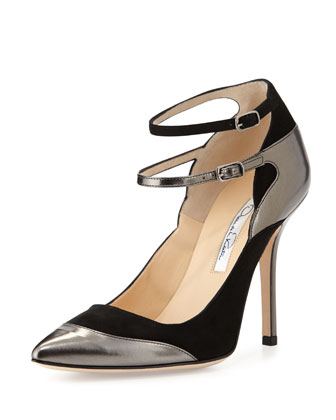 Sisi Suede & Leather Pump, Gunmetal