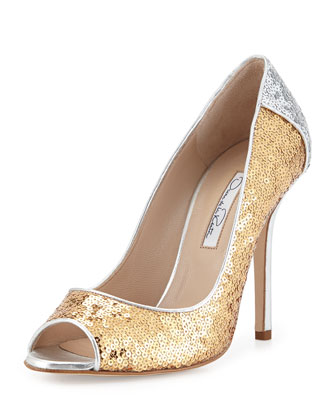 Tina Sequin Peep-Toe Pump, Gold