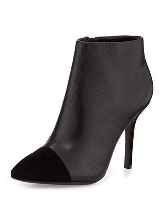 Rivington Leather Cap-Toe Bootie, Black
