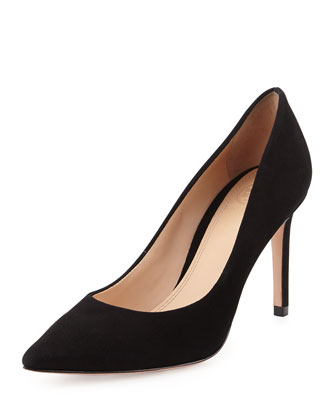 Greenwich Suede Point-Toe Pump, Black