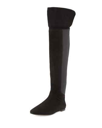 Kevin Suede Over-the-Knee Boot, Black