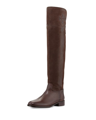 Simone Over-the-Knee Logo Boot, Chocolate