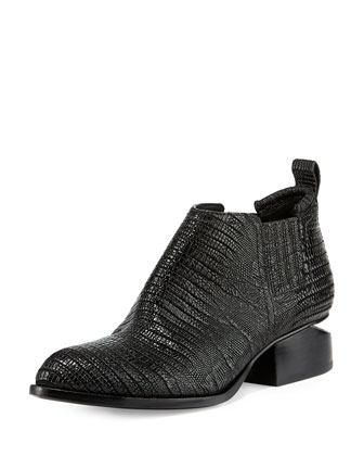 Kori Lizard-Embossed Bootie, Black