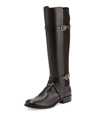 Dorian Leather Stretch-Back Boot, Black