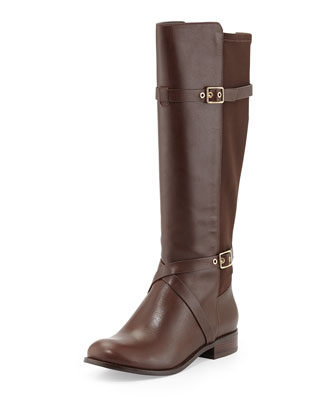 Dorian Leather Stretch-Back Boot, Chestnut