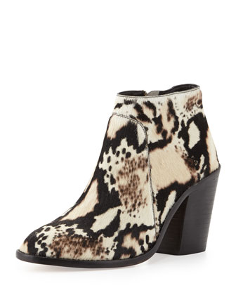 Ella Python-Print Calf Hair Ankle Bootie, Cream/Black