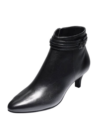Tamera Leather Short Boot, Black