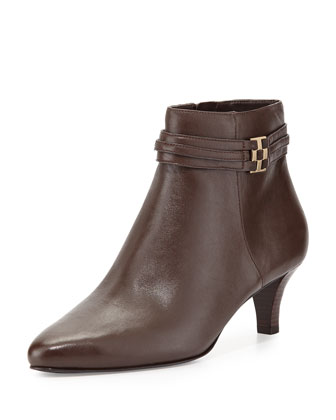 Tamera Leather Ankle Boot, Chestnut