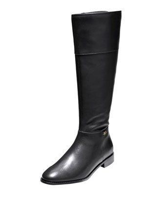 Primrose Leather Riding Boot, Black