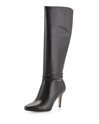 Garner Leather Knee Boot, Black