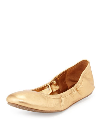 Molly Stretch-Collar Ballet Flat, Bronze