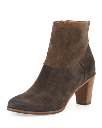 Biella Distressed Contrast Suede Ankle Boot, Anthracite/Torto