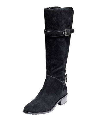 Indiana Waterproof Suede Tall Boot, Black
