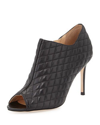 Annabel Quilted Peep-Toe Bootie, Black