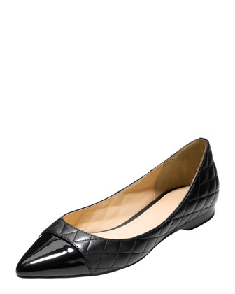 Felicity Quilted Cap-Toe Skimmer, Black