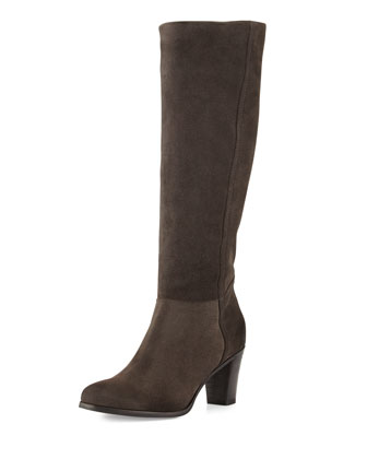 Loreo Suede Knee Boot, Anthracite