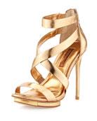Lemour Cross-Strap Sandal, Gold Dust