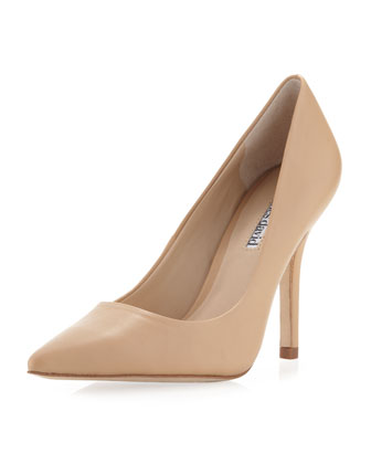Sway II Pointy Leather Pump, Camel