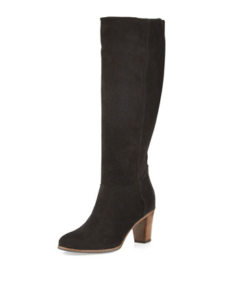 Loreo Suede Knee Boot, Nero