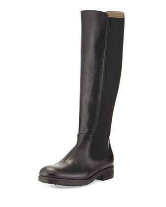 Lia Leather Stretch-Side Boot, Nero