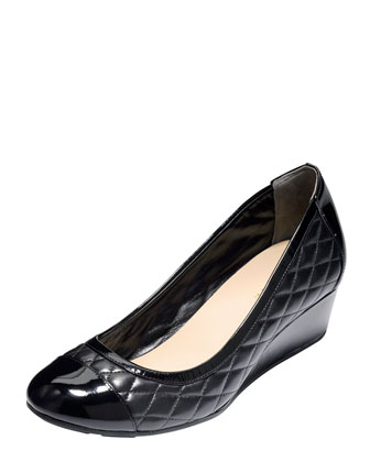 Tali Quilted Wedge Pump, Black