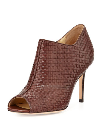 Annabel Woven Leather Bootie, Chestnut