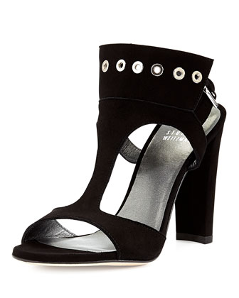 French Cuff Suede Sandal, Black