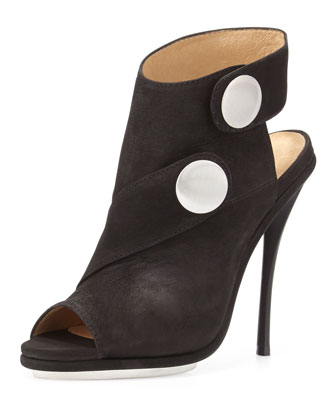 Shelbie Nubuck Snap-Strap Bootie, Black