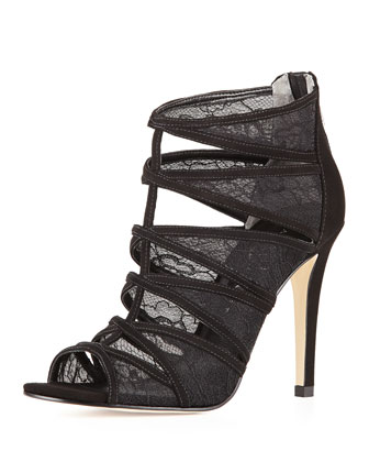 Derry Strappy Zip-Back Lace Inset Sandal, Black