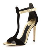 Leigha Metallic & Suede T-Strap Sandal, Black/Gold