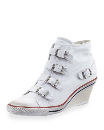 Genialbis Buckled Wedge Sneaker, White