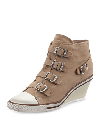 Genialbis Buckled Wedge Sneaker, Chamois