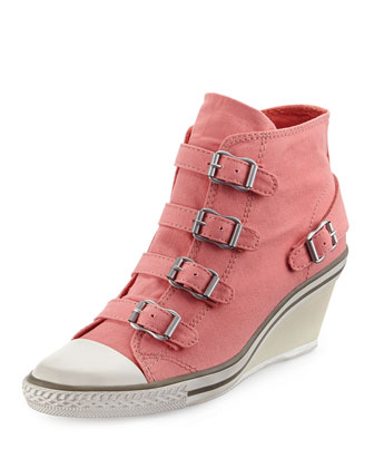 Genialbis Buckled Wedge Sneaker, Peach