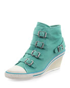 Genialbis Buckled Wedge Sneaker, Celadon