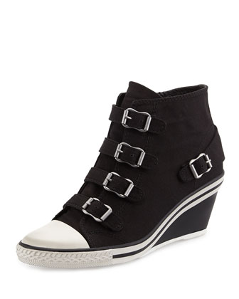 Genialbis Buckled Wedge Sneaker, Black