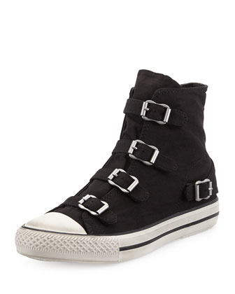 Virgin Buckled Canvas Sneaker, Black