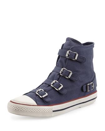 Virgin Buckled Canvas Sneaker, White