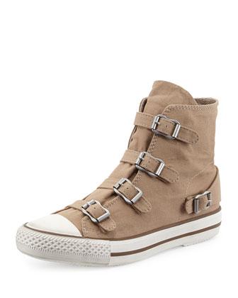 Virgin Buckled Canvas Sneaker, Chamois