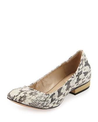 Snakeskin Spiked Heel Flat, Marble